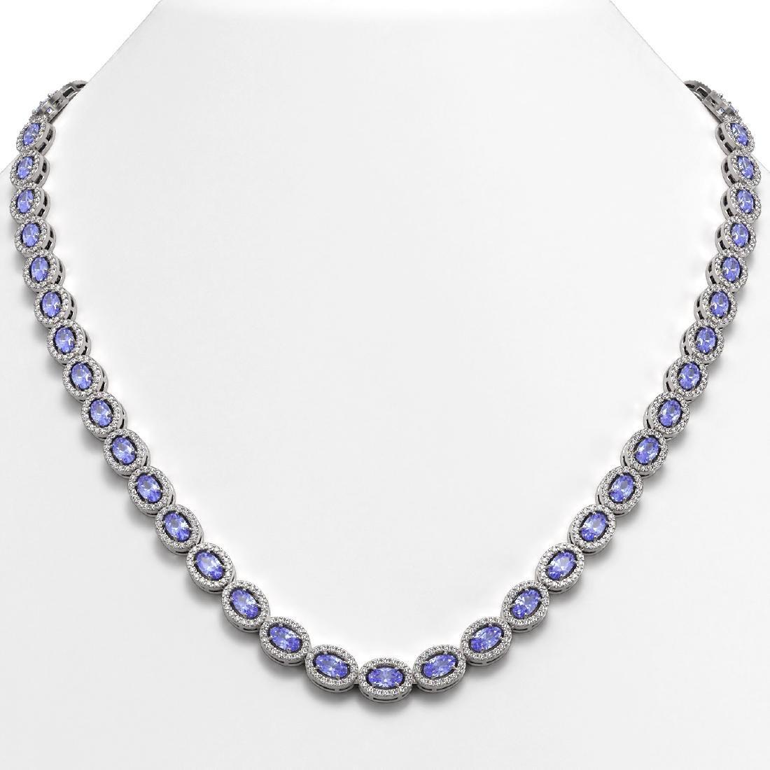 22.62 CTW Tanzanite & Diamond Halo Necklace 10K White