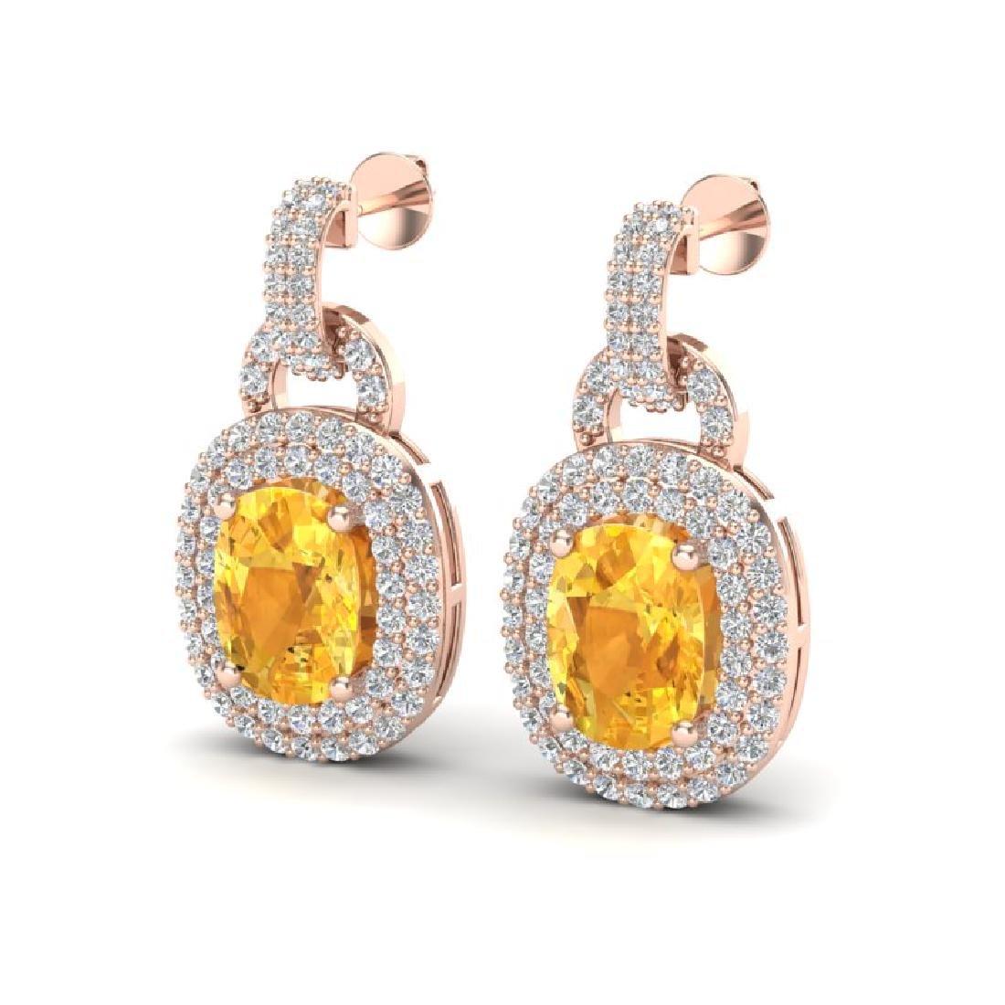 5 CTW Citrine And Micro VS/SI Diamond Pave Earrings