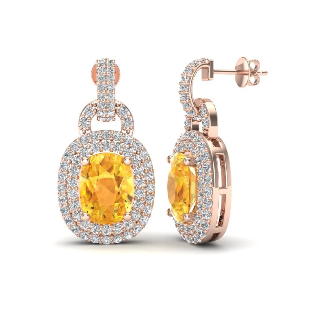 5 CTW Citrine And Micro VS/SI Diamond Pave Earrings - 2