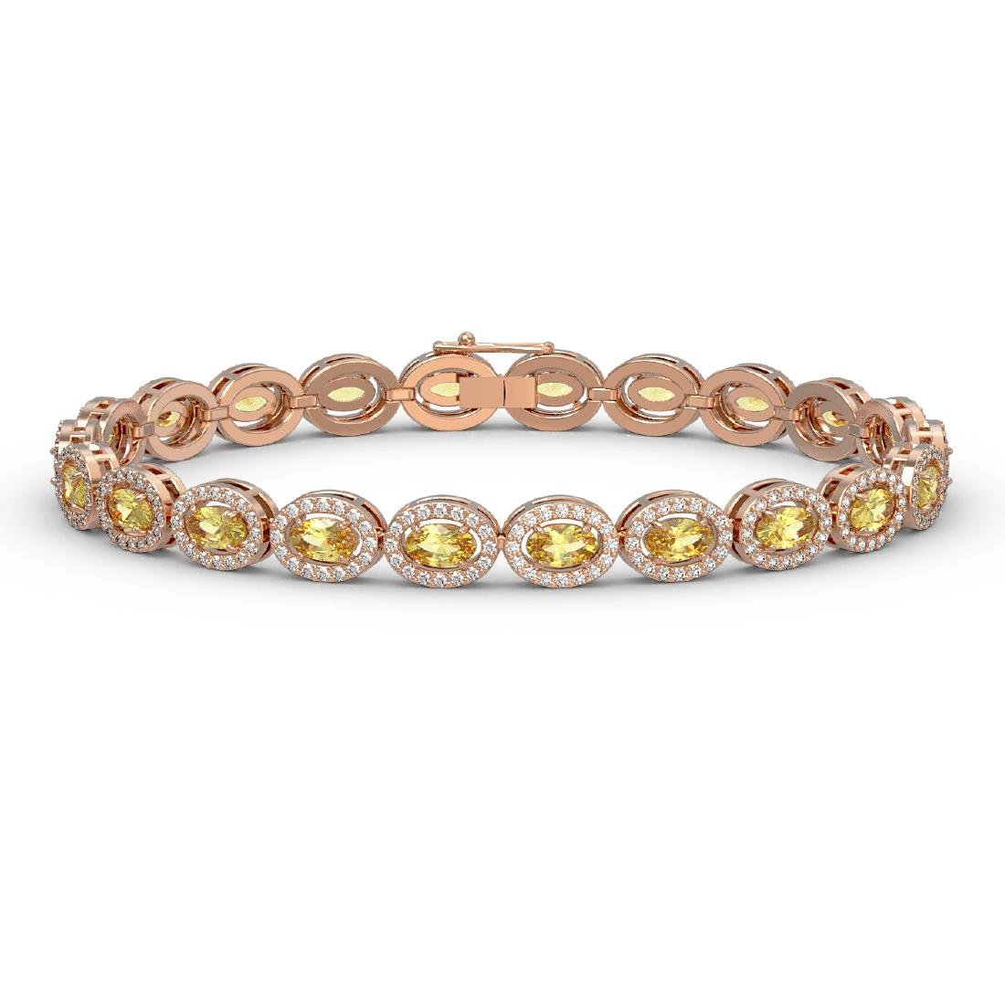 10.07 CTW Fancy Citrine & Diamond Halo Bracelet 10K
