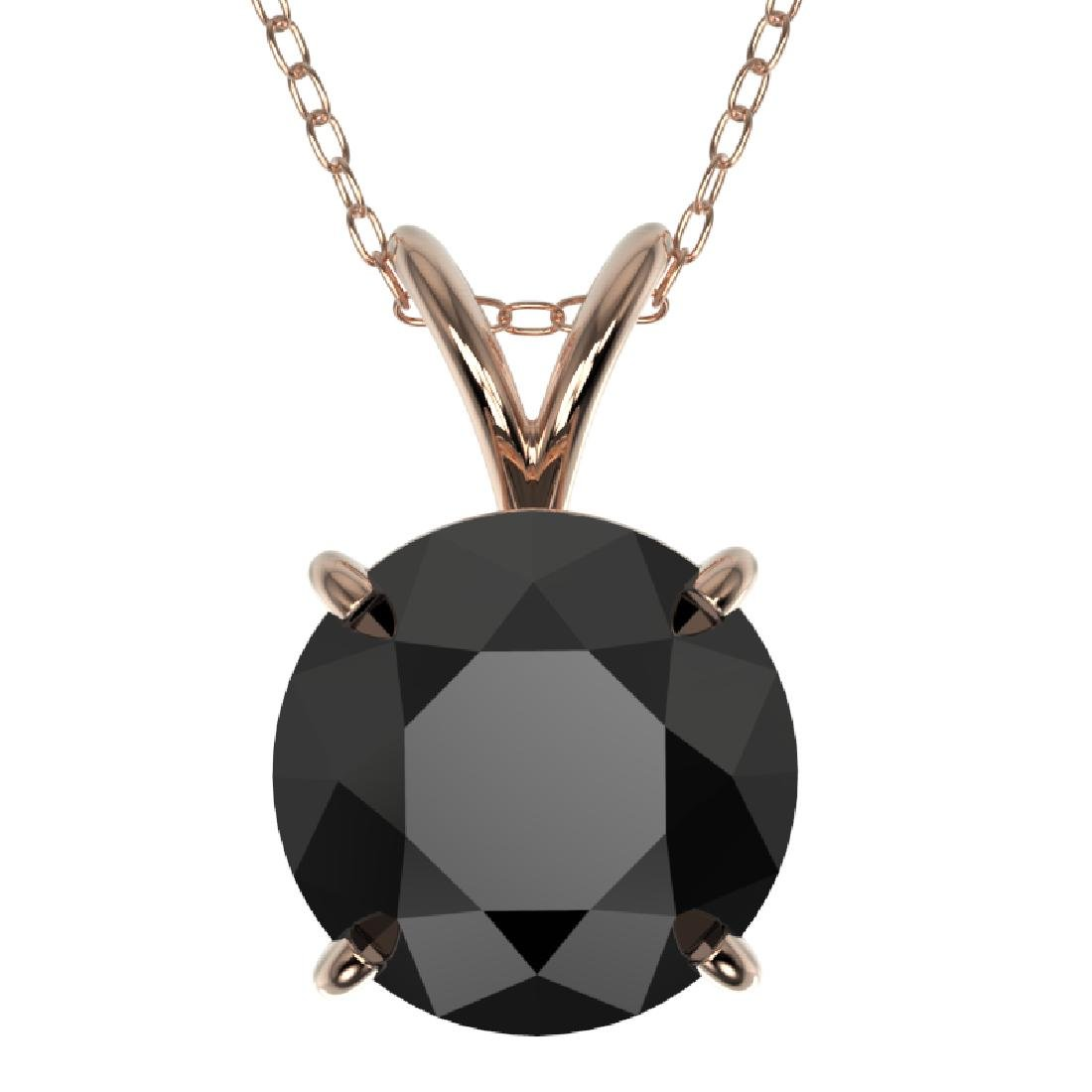 2.09 CTW Fancy Black VS Diamond Solitaire Necklace 10K