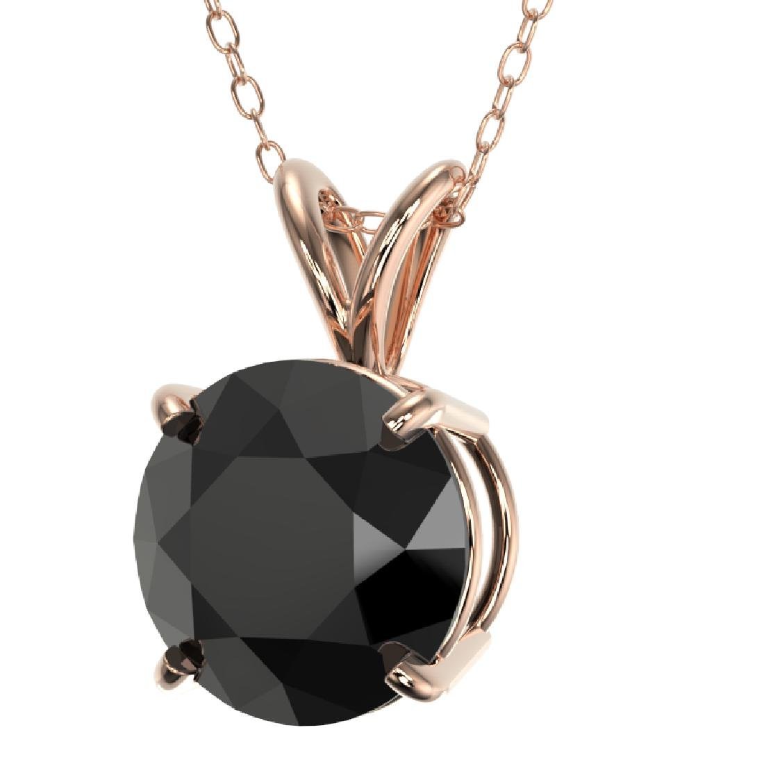 2.09 CTW Fancy Black VS Diamond Solitaire Necklace 10K - 2
