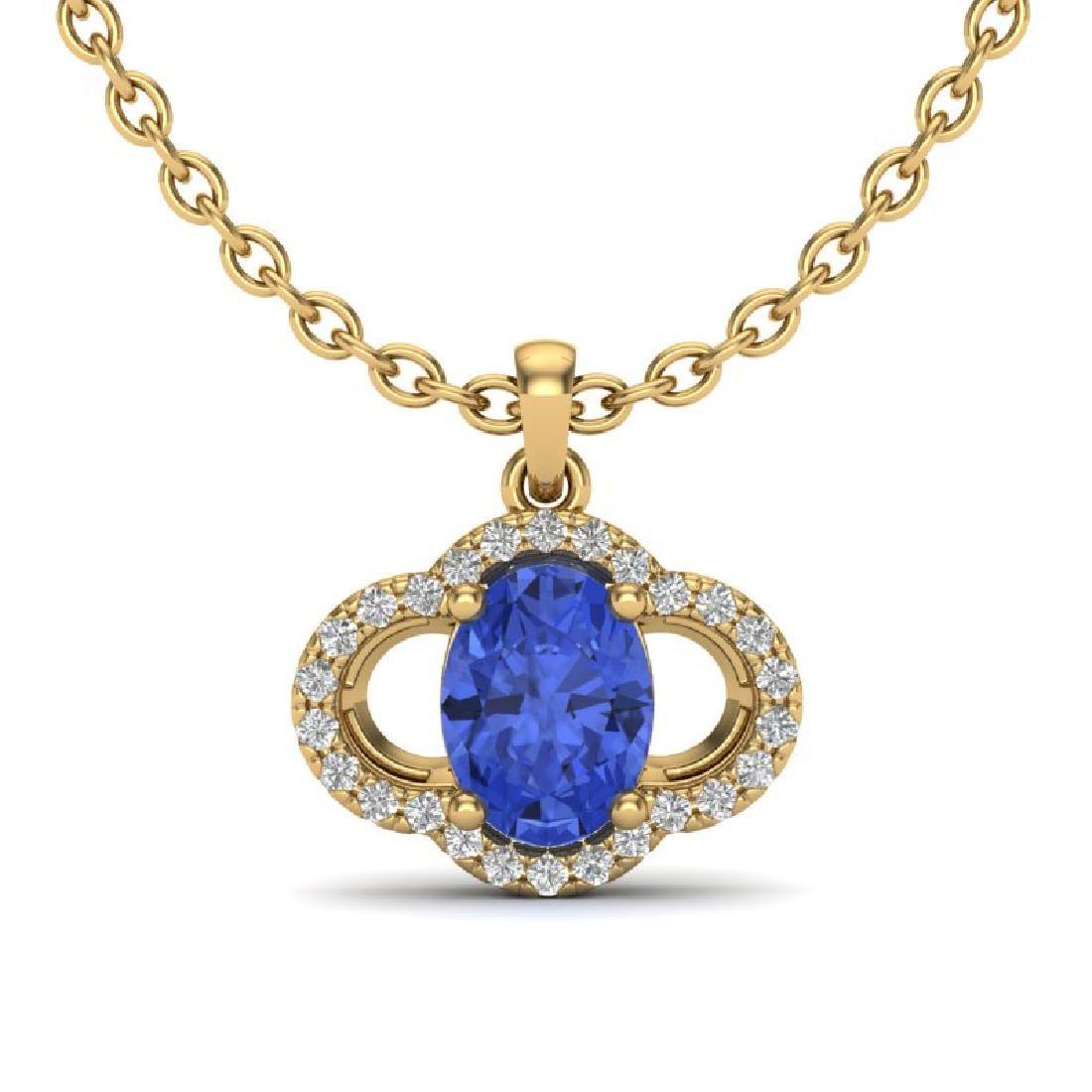 1.75 CTW Tanzanite & Micro Pave VS/SI Diamond Necklace