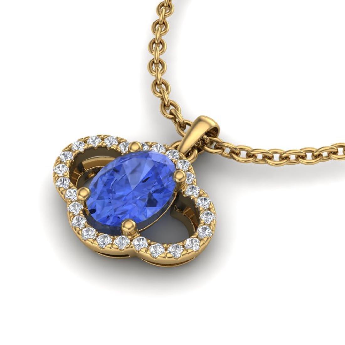 1.75 CTW Tanzanite & Micro Pave VS/SI Diamond Necklace - 2