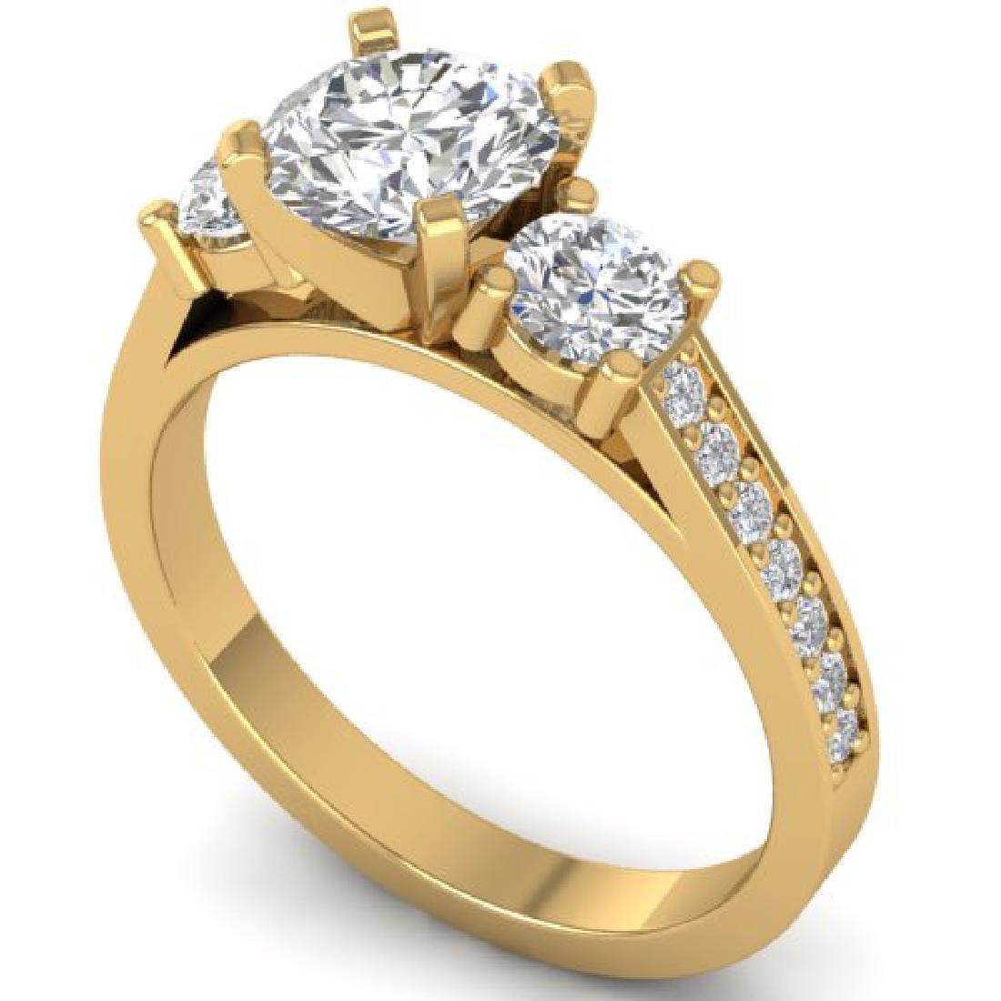 1.75 CTW Certified VS/SI Diamond 3 Stone Ring 18K - 2