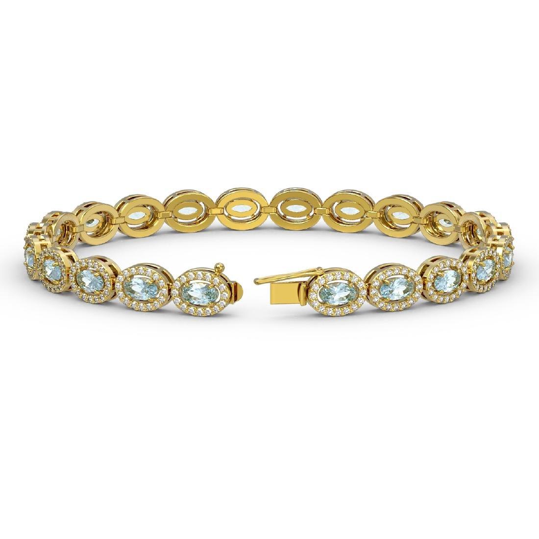 10.76 CTW Sky Topaz & Diamond Halo Bracelet 10K Yellow - 2