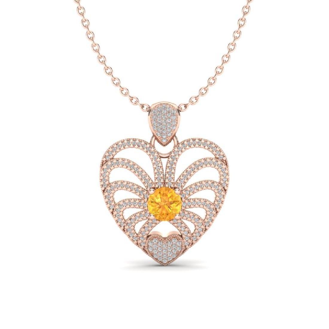 3 CTW Citrine With Micro Pave VS/SI Diamond Heart