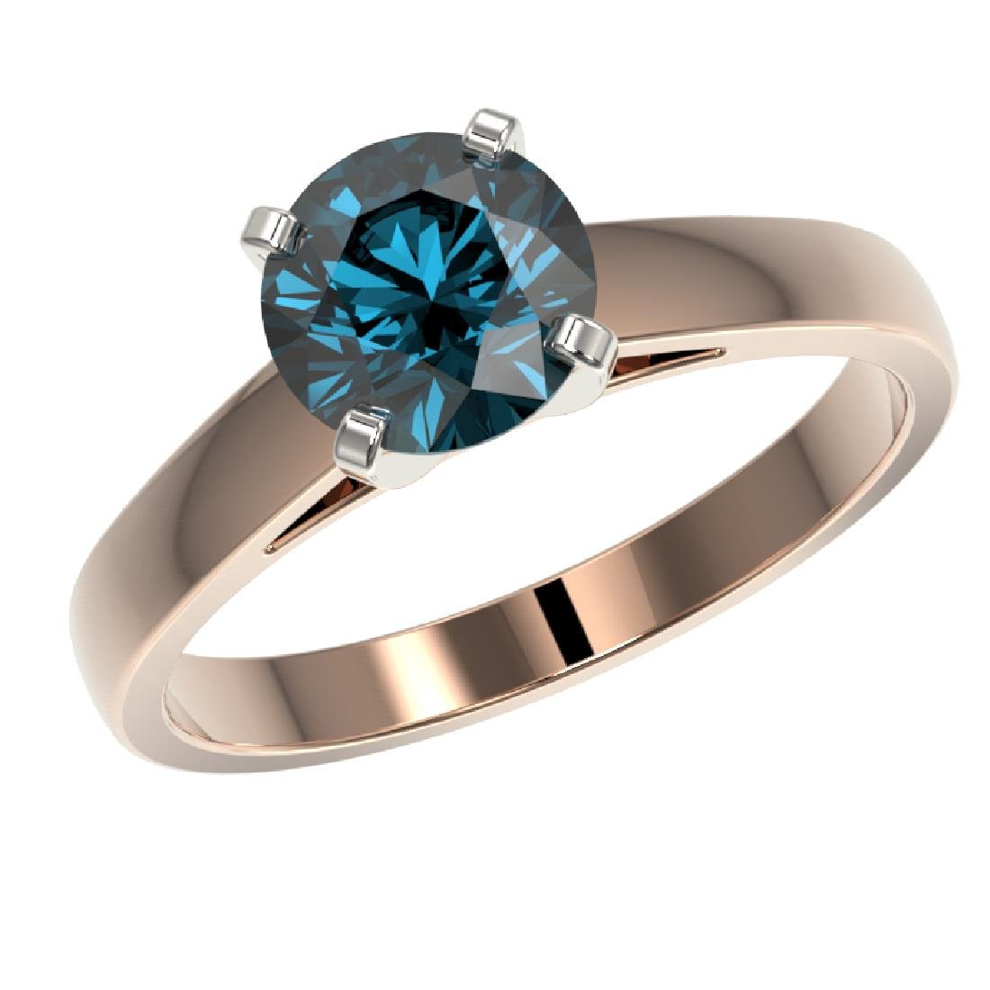 1.50 CTW Certified Intense Blue SI Diamond Solitaire - 2