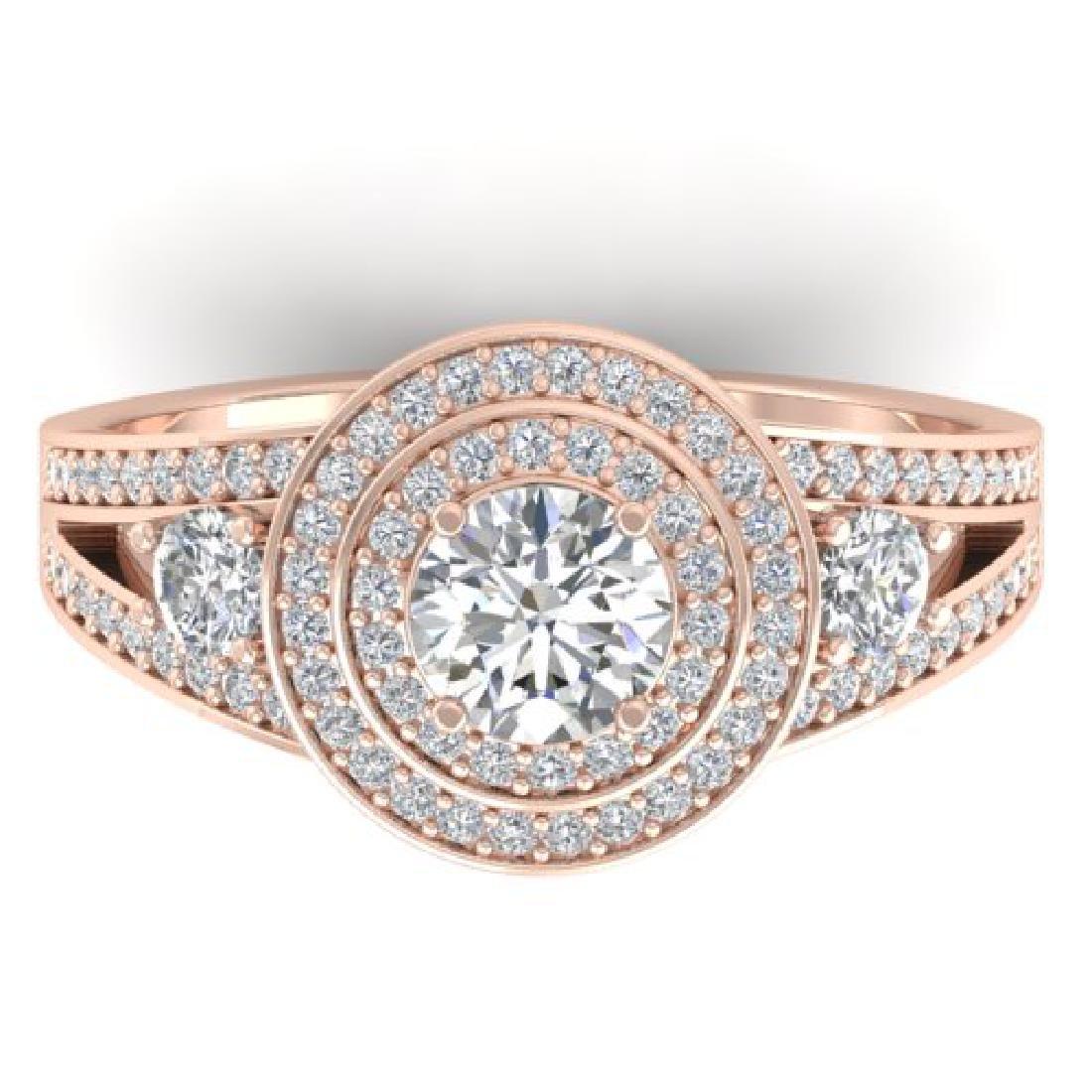 1.50 CTW Certified VS/SI Diamond Art Deco 3 Stone Halo
