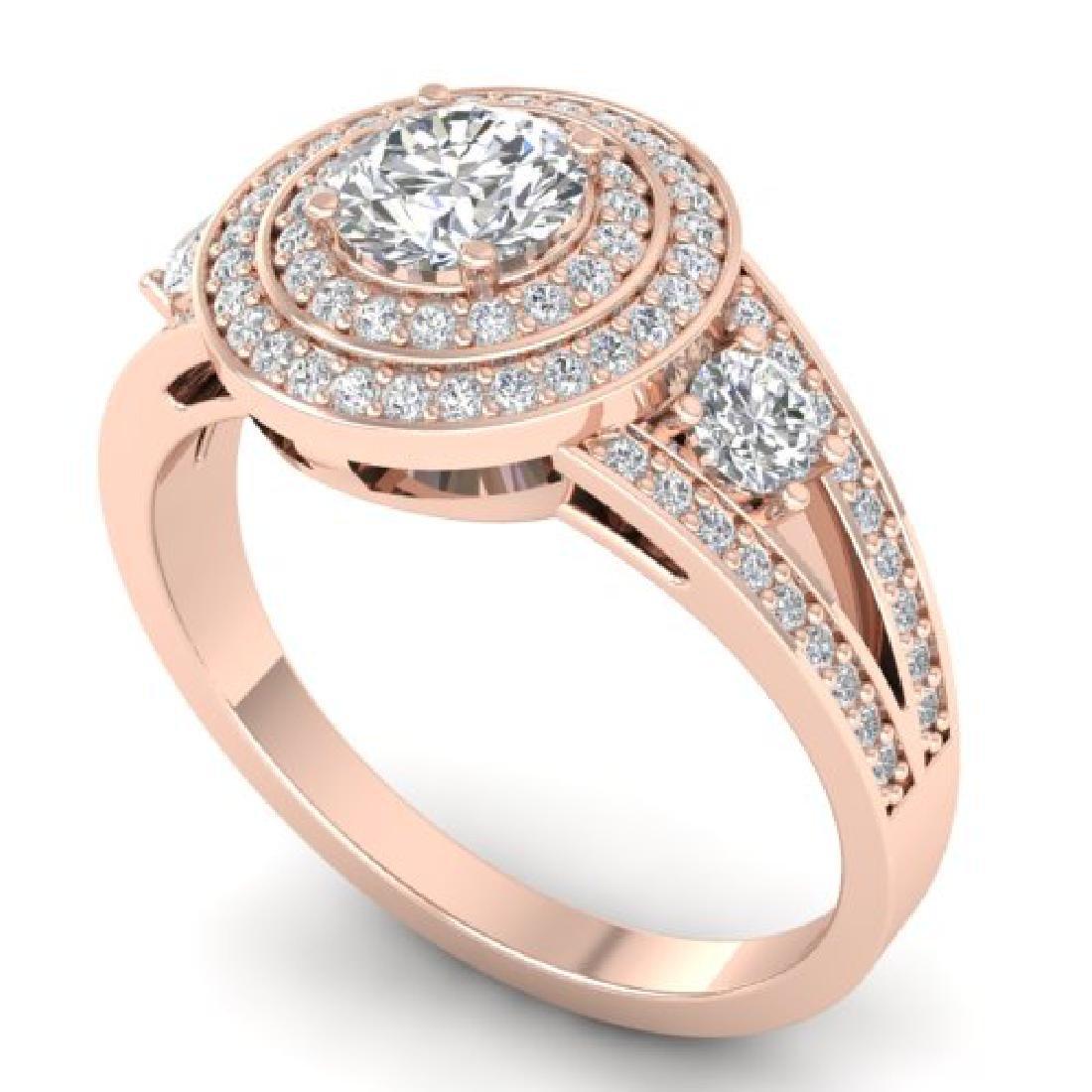 1.50 CTW Certified VS/SI Diamond Art Deco 3 Stone Halo - 2