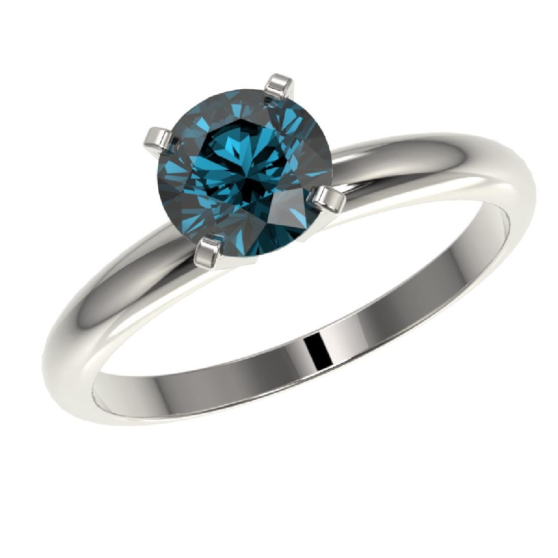 1.27 CTW Certified Intense Blue SI Diamond Solitaire - 2