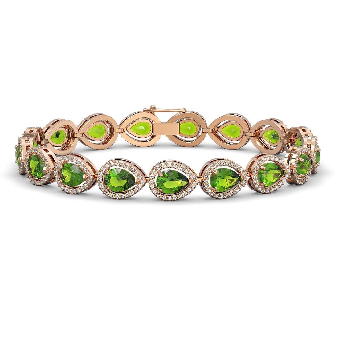 16.08 CTW Peridot & Diamond Halo Bracelet 10K Rose Gold
