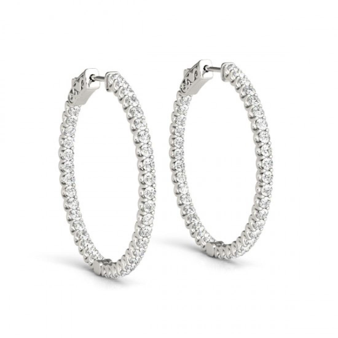 2.25 CTW Diamond VS/SI Certified 43 Mm Hoop Earrings - 2