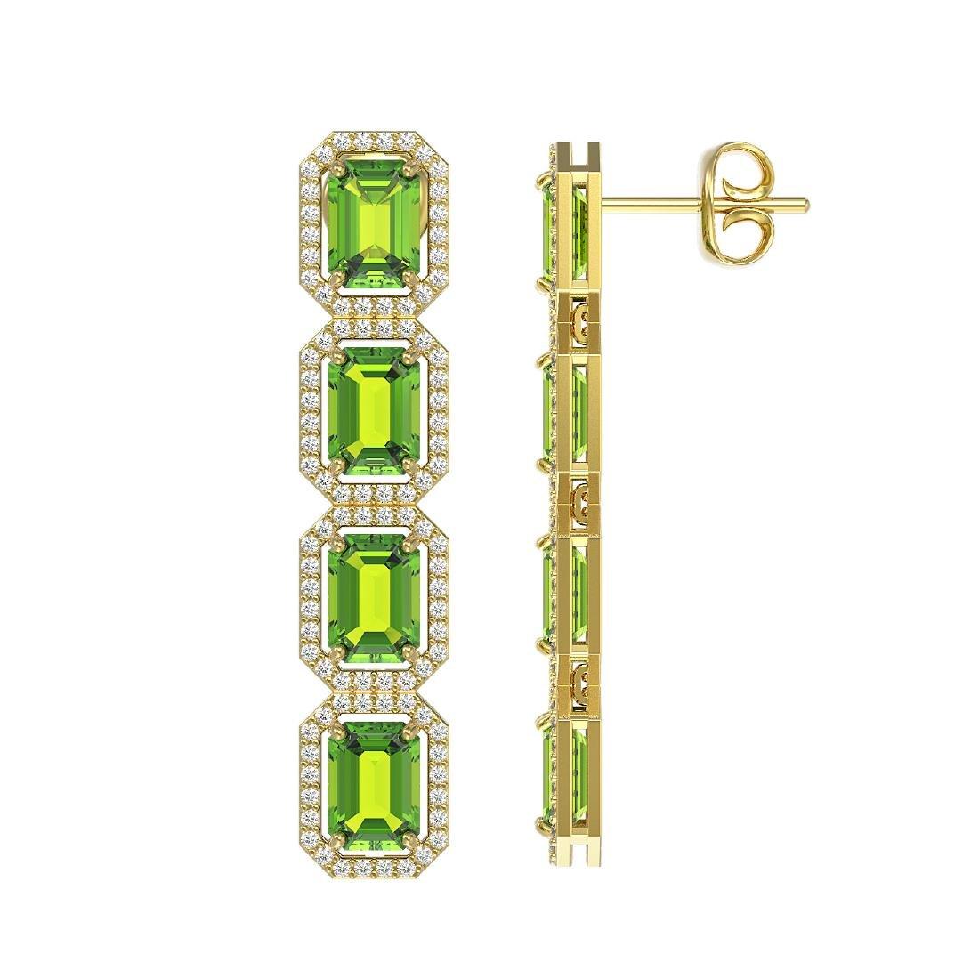 11.98 CTW Peridot & Diamond Halo Earrings 10K Yellow - 2