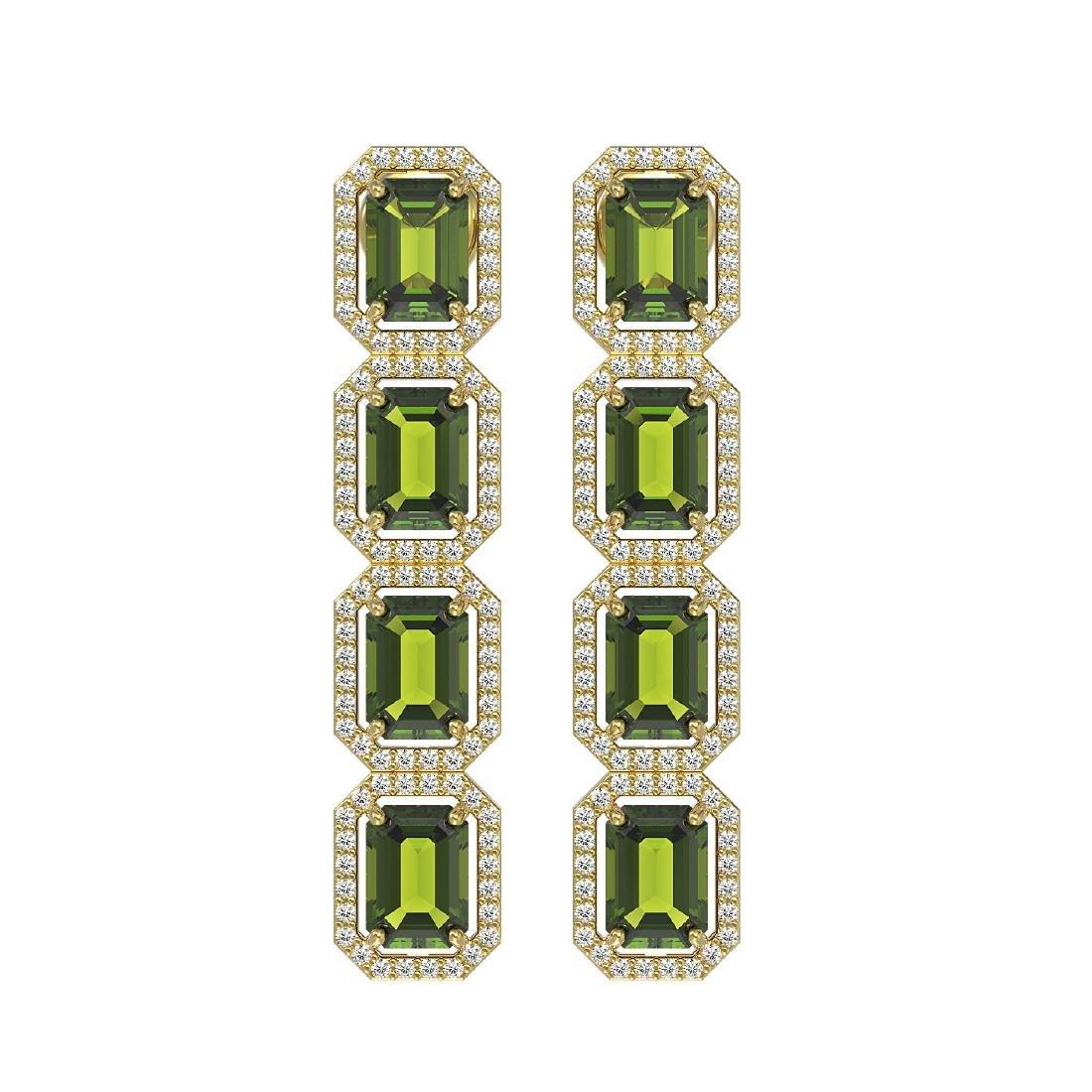 12.41 CTW Tourmaline & Diamond Halo Earrings 10K Yellow