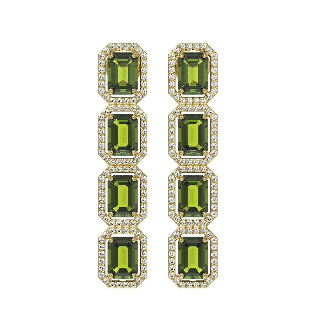 12.41 CTW Tourmaline & Diamond Halo Earrings 10K Yellow