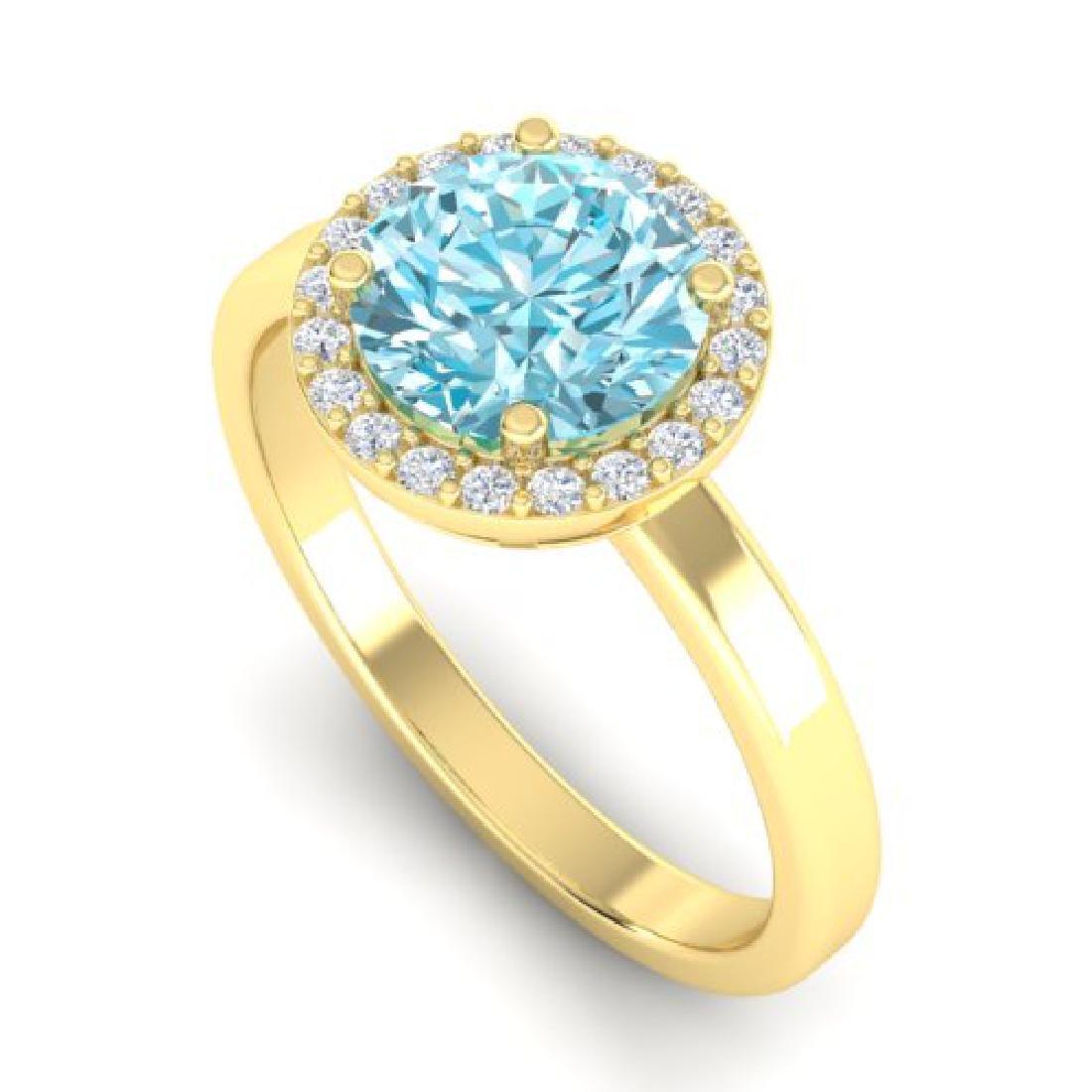 2 CTW Sky Blue Topaz & Halo VS/SI Diamond Micro Ring - 2
