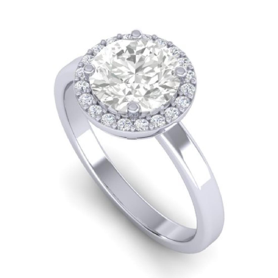 1.75 CTW Halo VS/SI Diamond Micro Pave Ring 18K White - 2