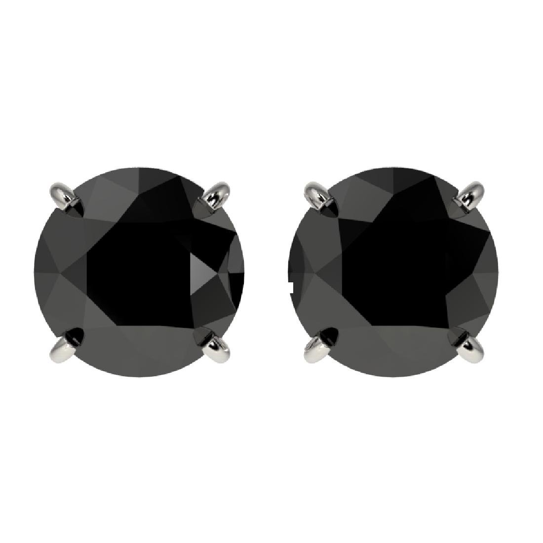 2.09 CTW Fancy Black VS Diamond Solitaire Stud Earrings