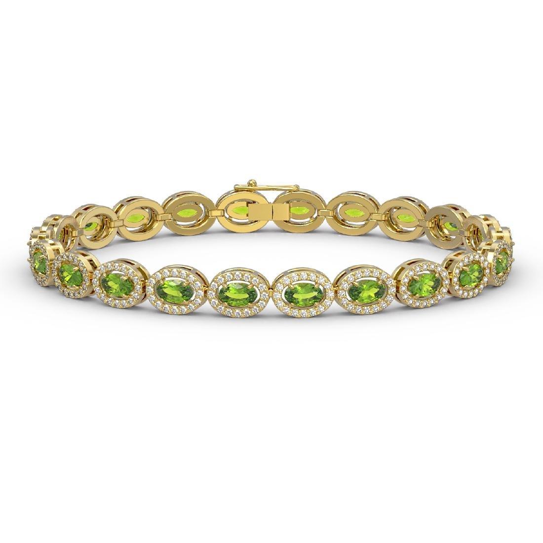 10.67 CTW Peridot & Diamond Halo Bracelet 10K Yellow
