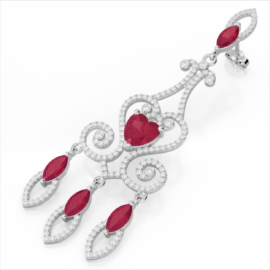 11 CTW Ruby & Micro Pave VS/SI Diamond Earrings 14K