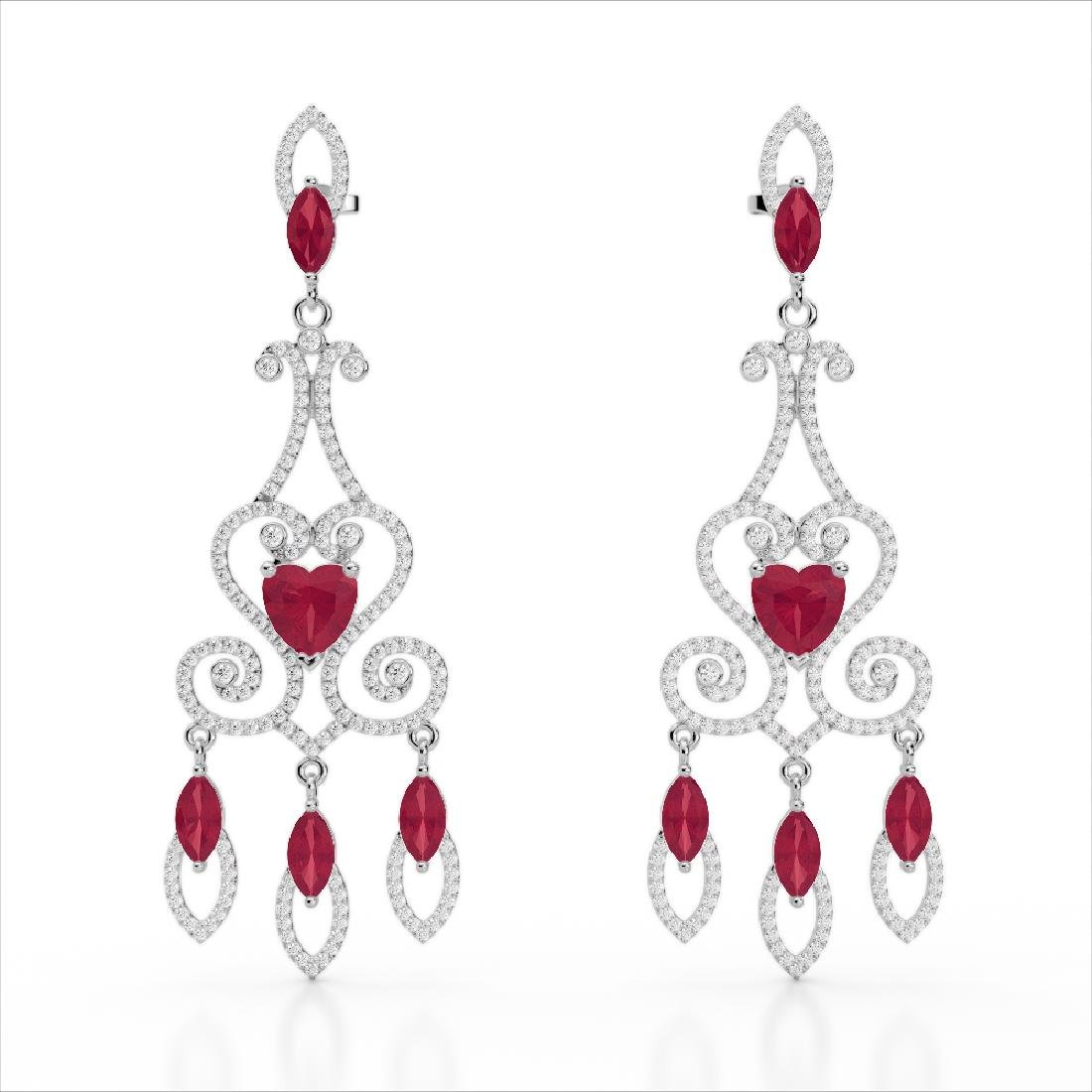 11 CTW Ruby & Micro Pave VS/SI Diamond Earrings 14K - 2