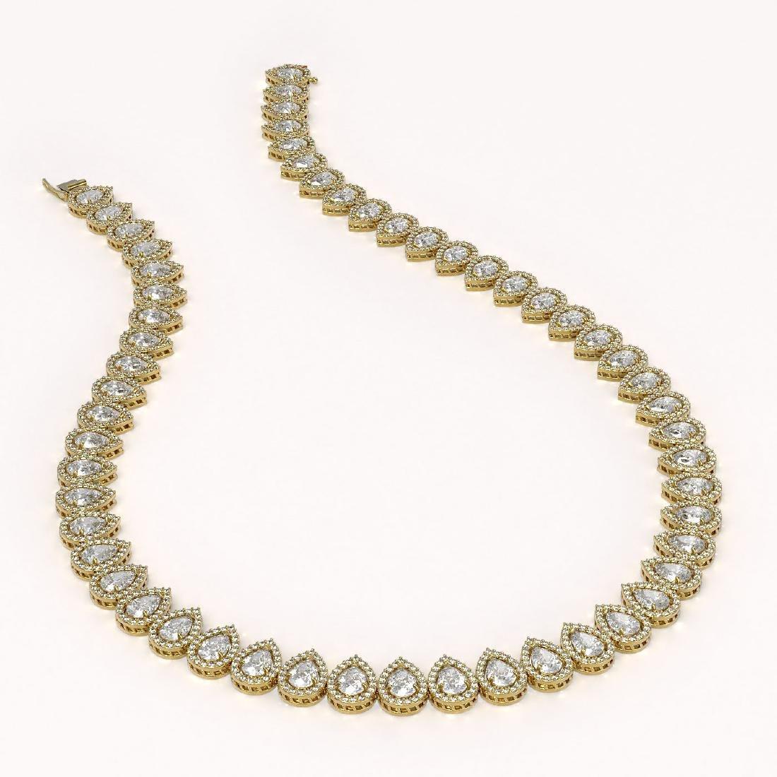 34.83 CTW Pear Diamond Designer Necklace 18K Yellow - 2