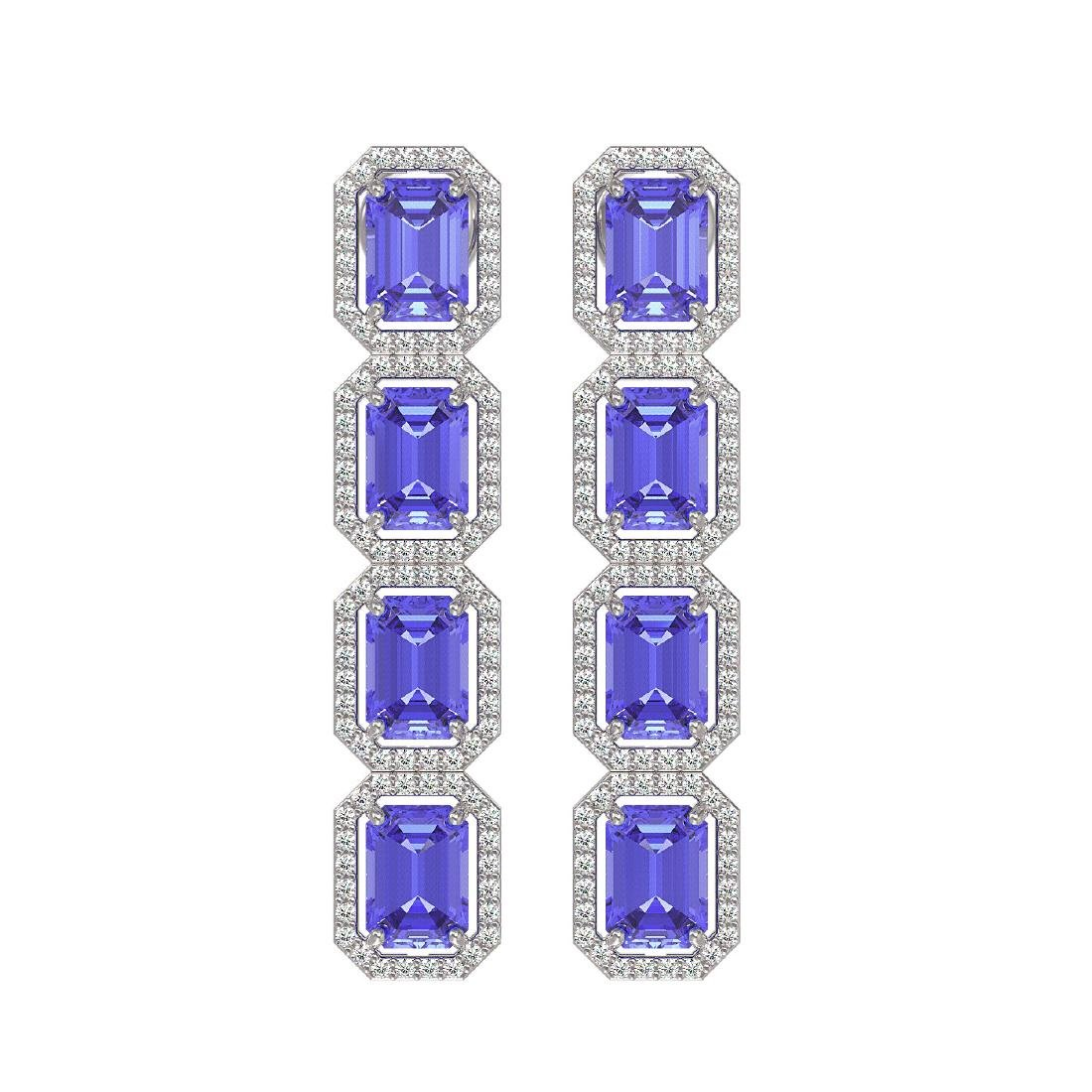 11.93 CTW Tanzanite & Diamond Halo Earrings 10K White