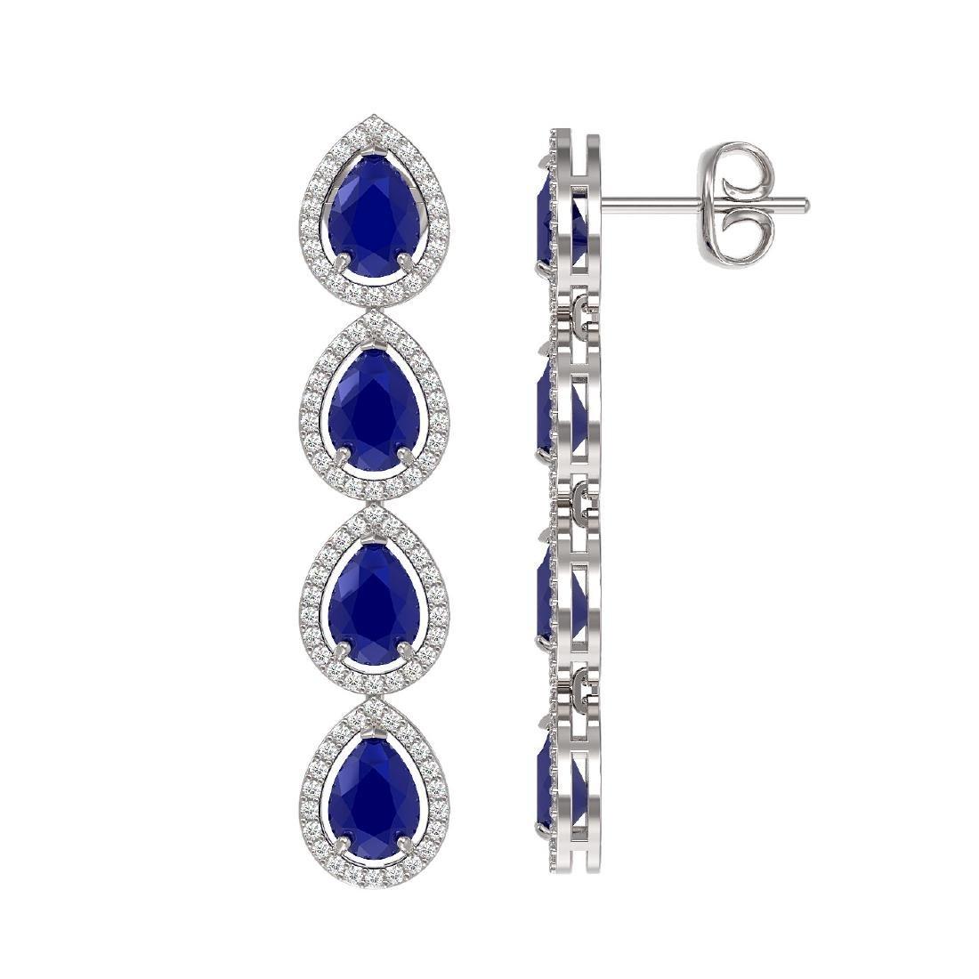 10.2 CTW Sapphire & Diamond Halo Earrings 10K White - 2