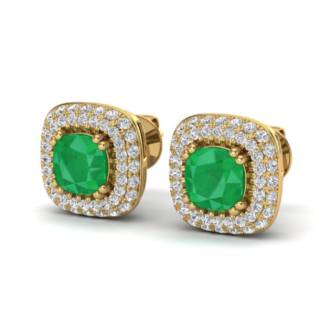 2.16 CTW Emerald & Micro VS/SI Diamond Earrings Halo