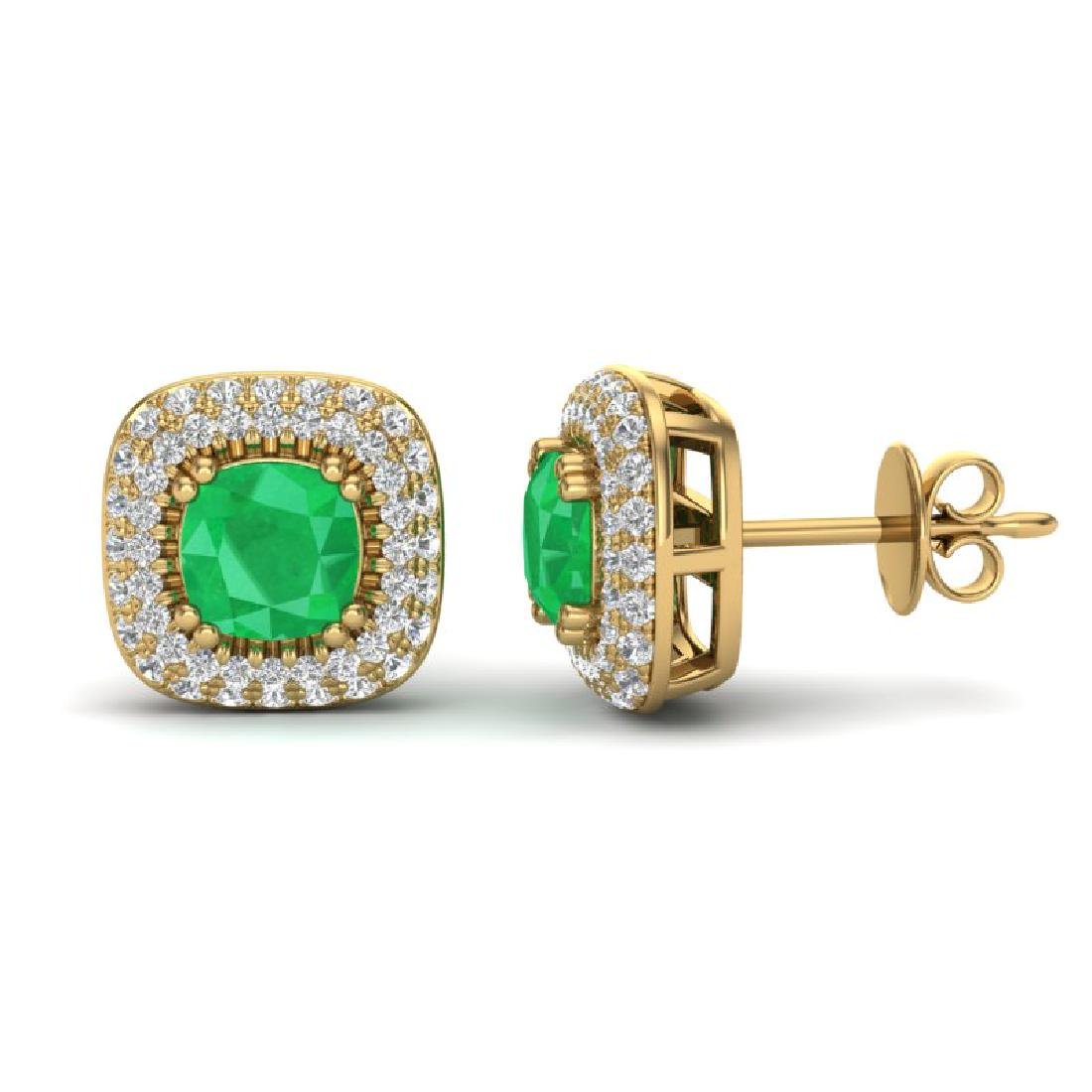 2.16 CTW Emerald & Micro VS/SI Diamond Earrings Halo - 2