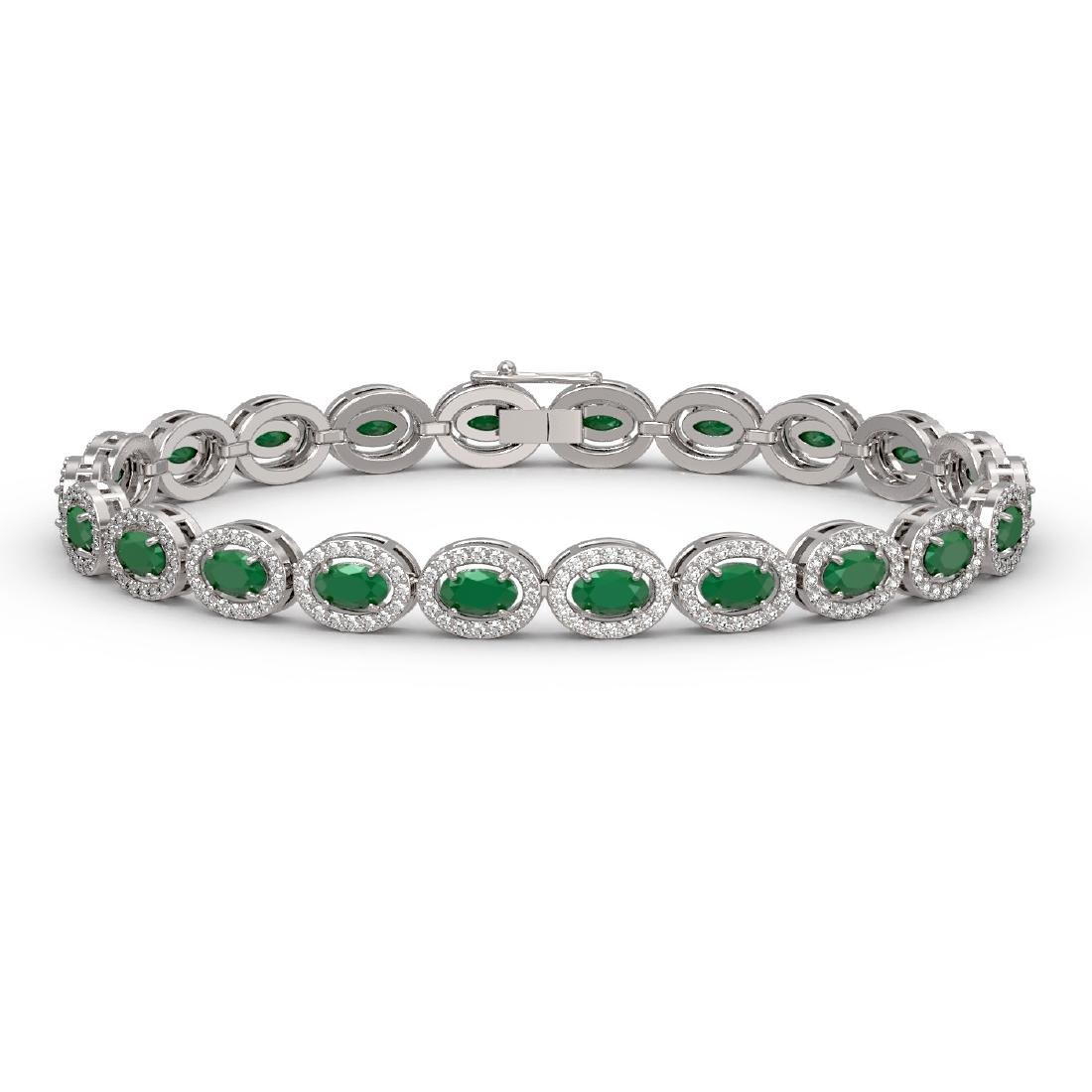 11.58 CTW Emerald & Diamond Halo Bracelet 10K White