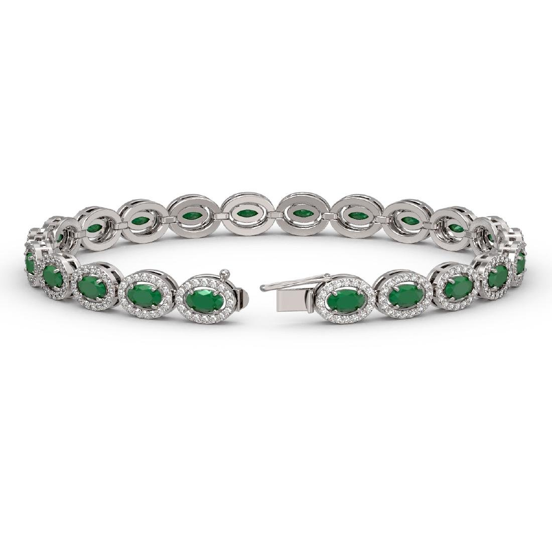 11.58 CTW Emerald & Diamond Halo Bracelet 10K White - 2