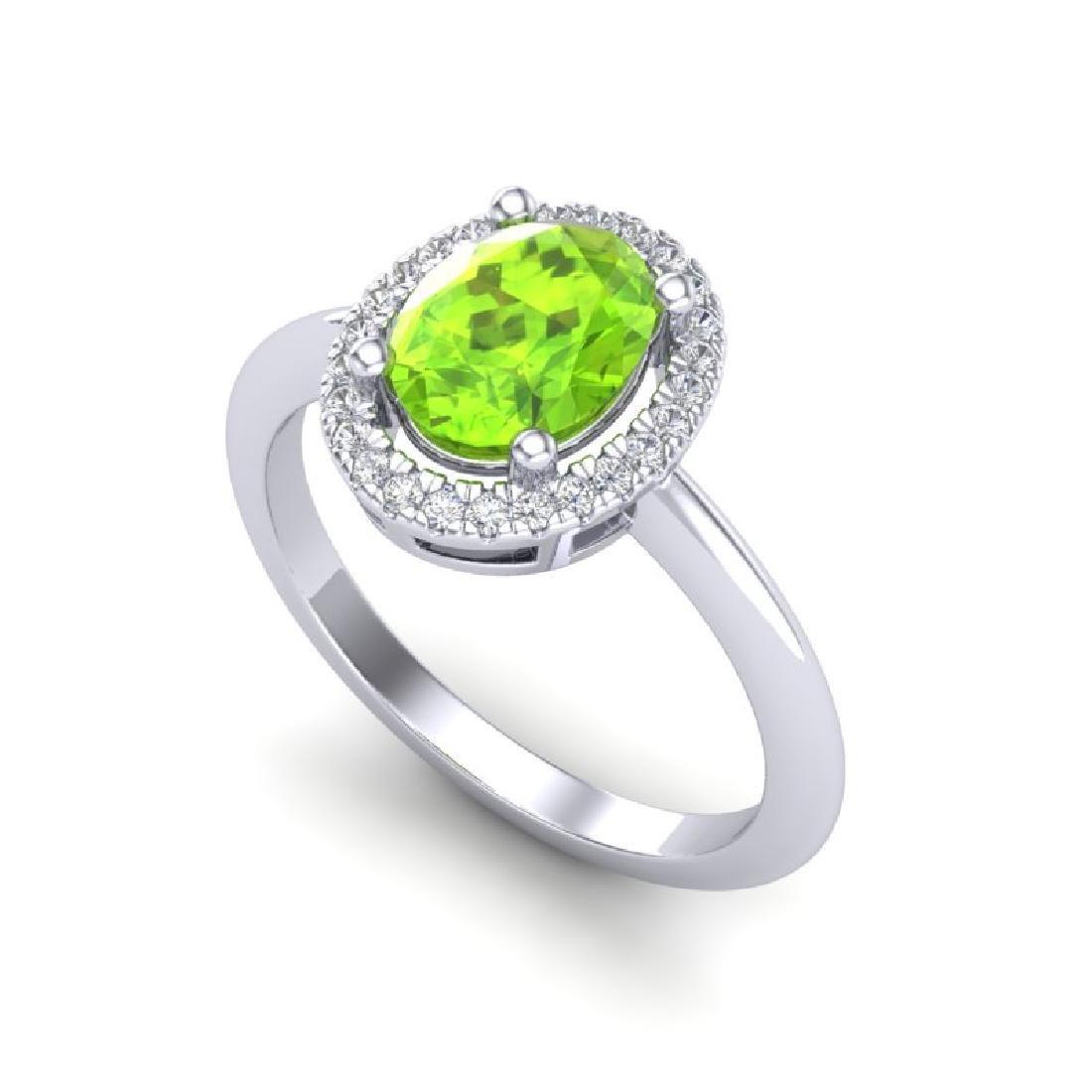 1.75 CTW Peridot & Micro VS/SI Diamond Ring Solitaire - 2