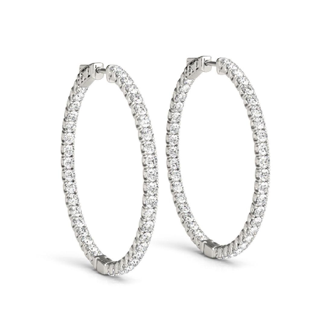1.5 CTW Diamond VS/SI Certified 21 Mm Hoop Earrings 14K - 2
