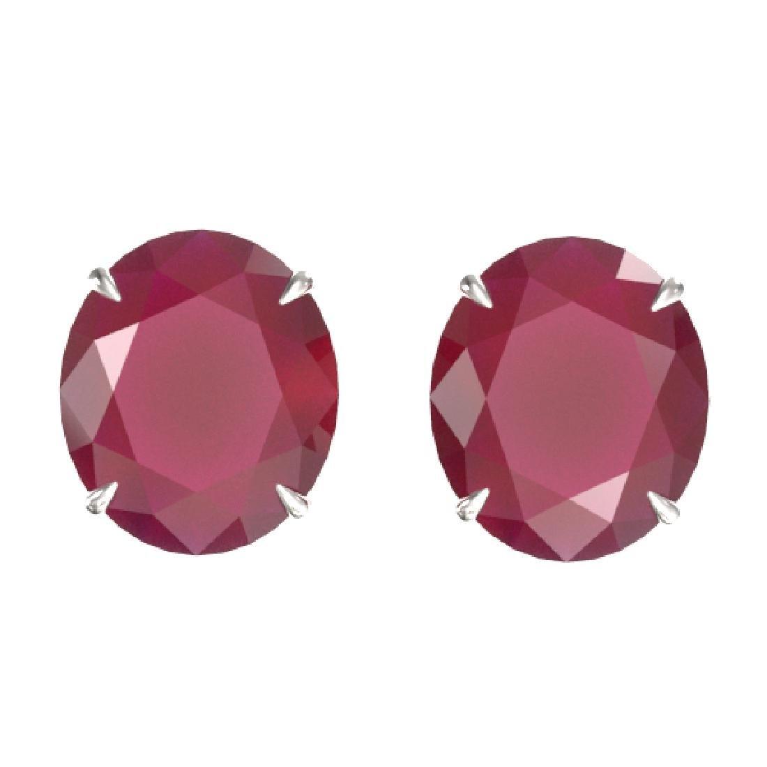 18 CTW Ruby Designer Solitaire Stud Earrings 18K White