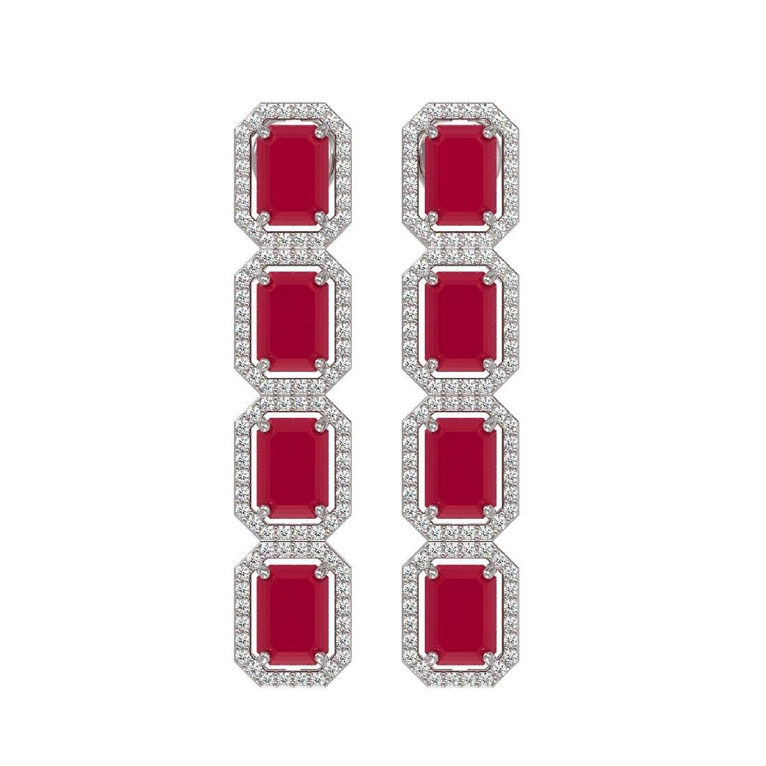 12.33 CTW Ruby & Diamond Halo Earrings 10K White Gold
