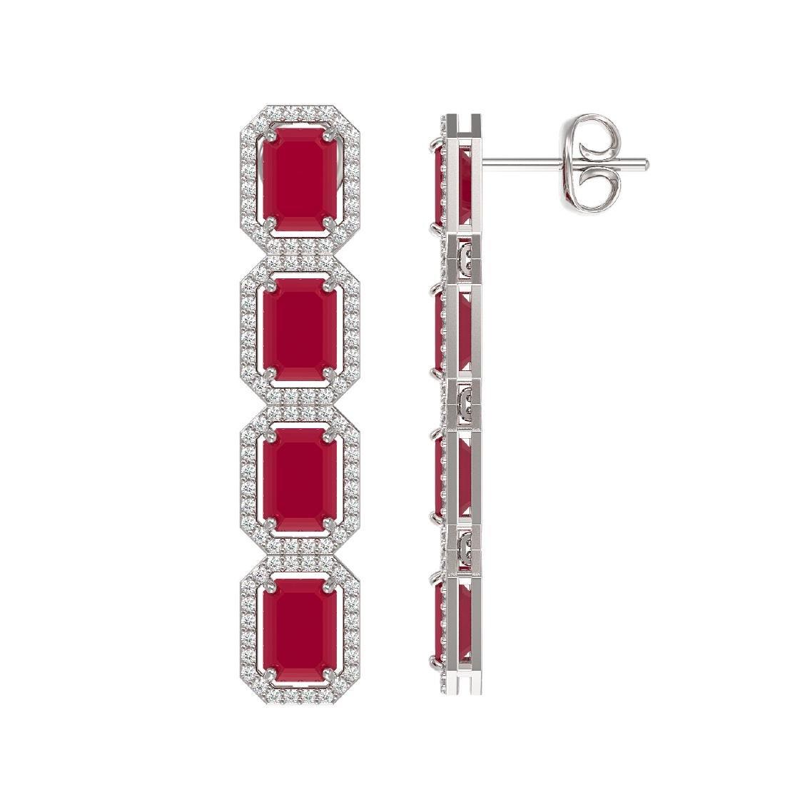 12.33 CTW Ruby & Diamond Halo Earrings 10K White Gold - 2