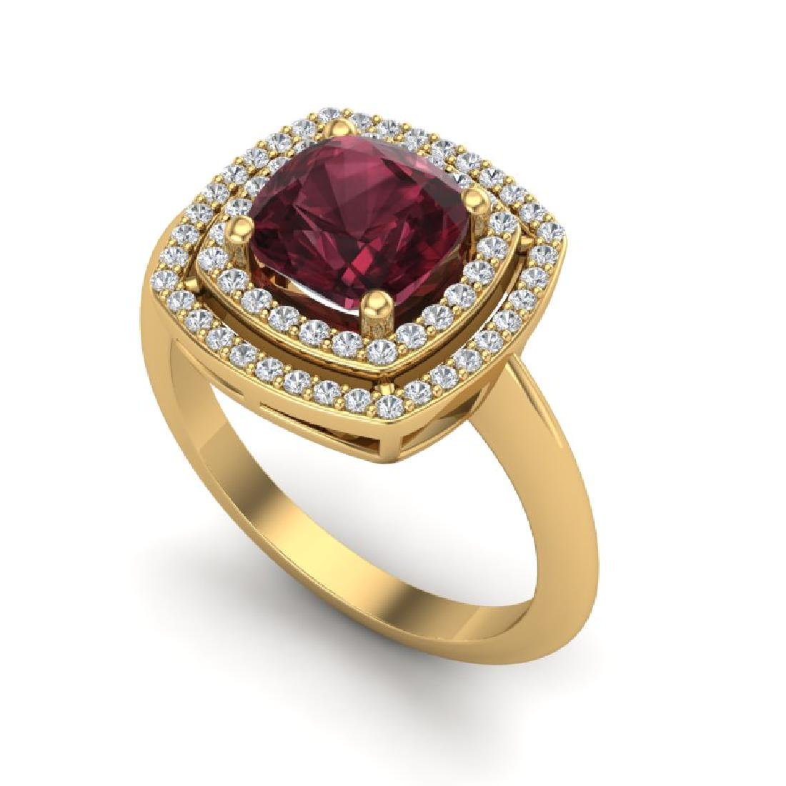 2.27 CTW Garnet & Micro VS/SI Diamond Pave Halo Ring - 2