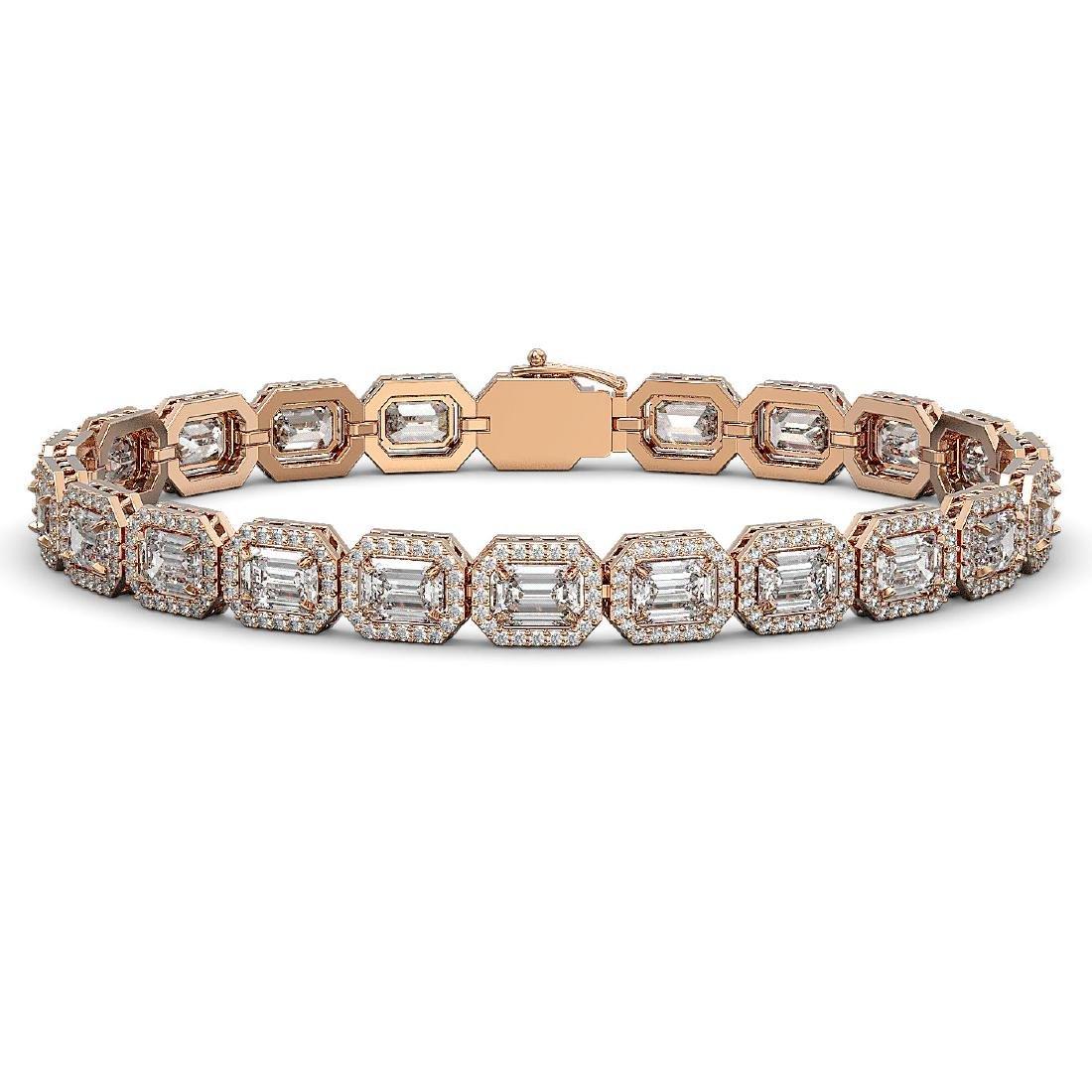 14.57 CTW Emerald Cut Diamond Designer Bracelet 18K