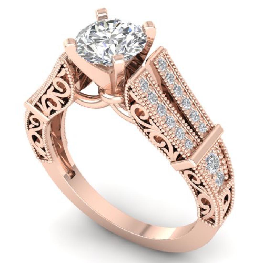 1.5 CTW Certified VS/SI Diamond Solitaire Art Deco Ring - 2