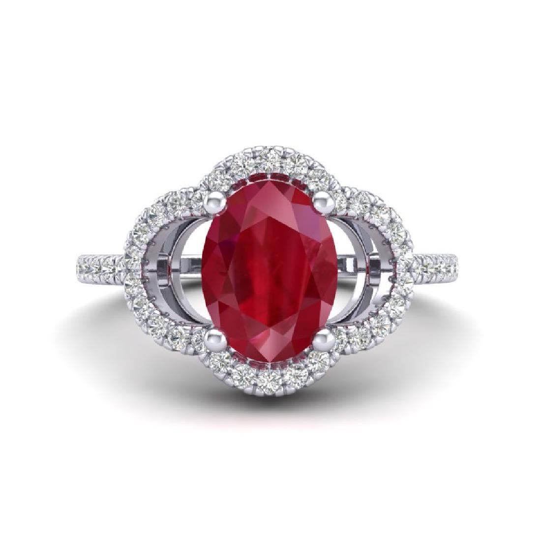 2 CTW Ruby & Micro Pave VS/SI Diamond Ring 10K White