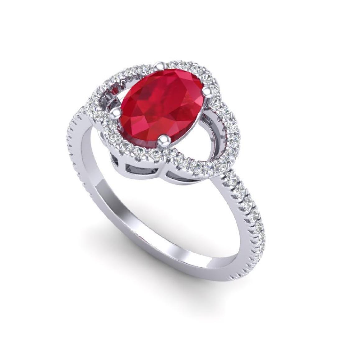 2 CTW Ruby & Micro Pave VS/SI Diamond Ring 10K White - 2