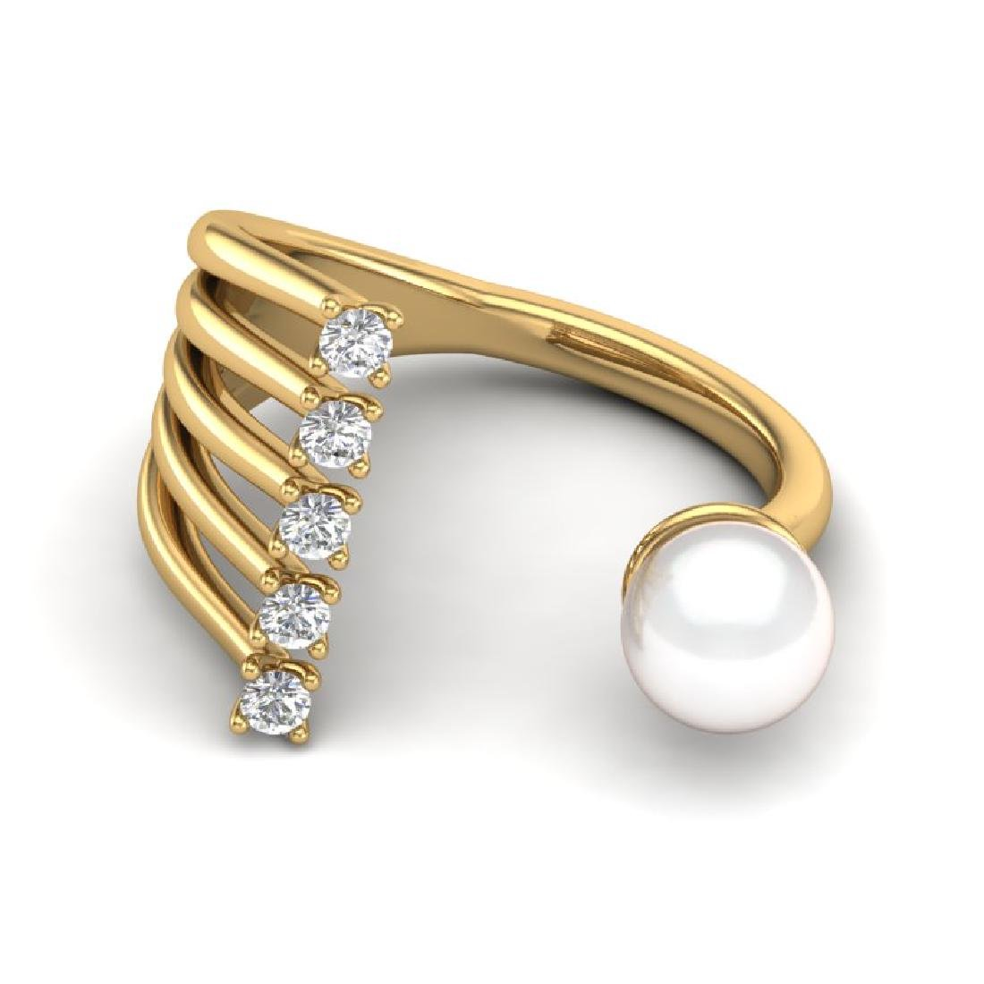 0.65 CTW VS/SI Diamond & Golden Pearl Designer Ring 14K - 2