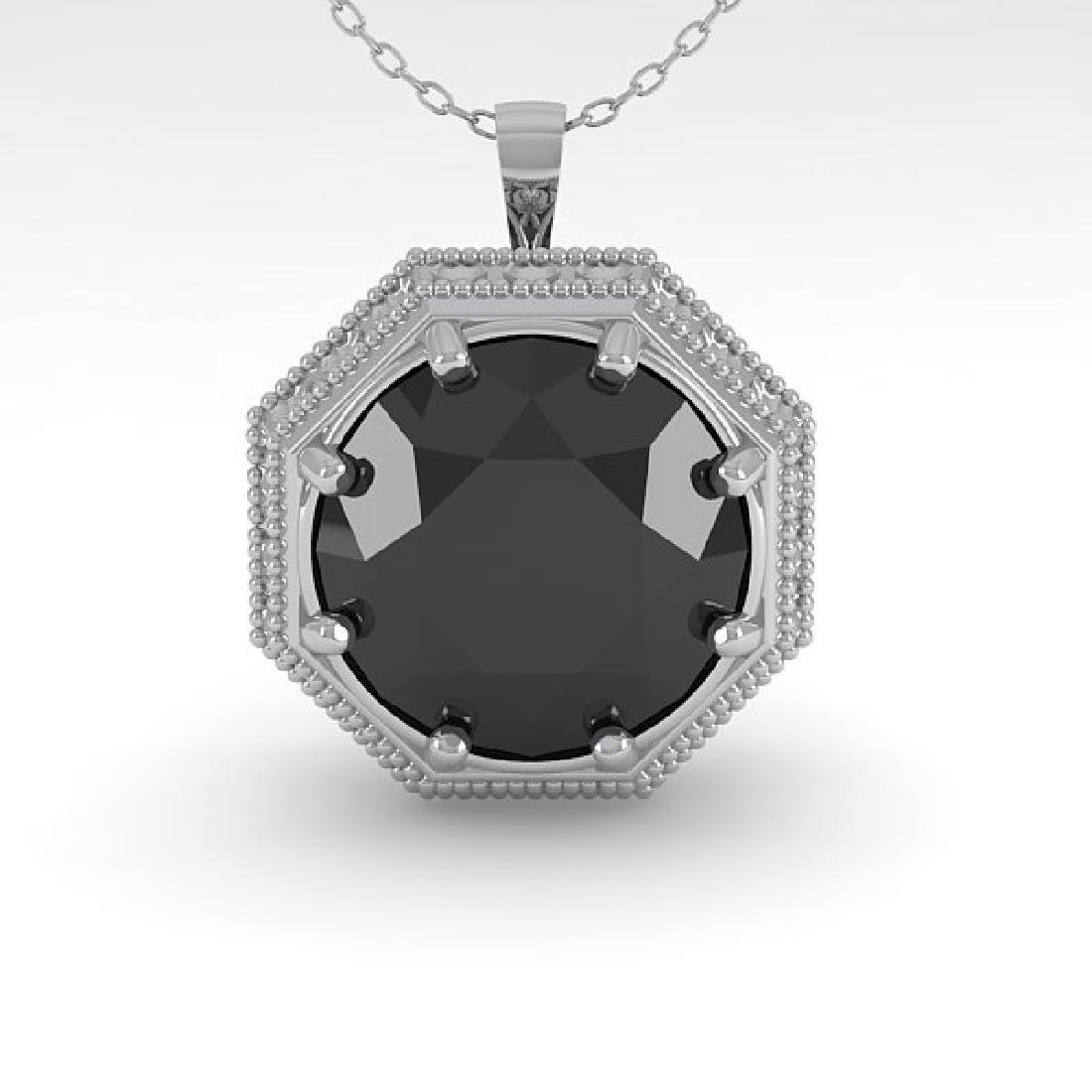 1.50 CTW Black Diamond Solitaire Necklace 14K White - 2
