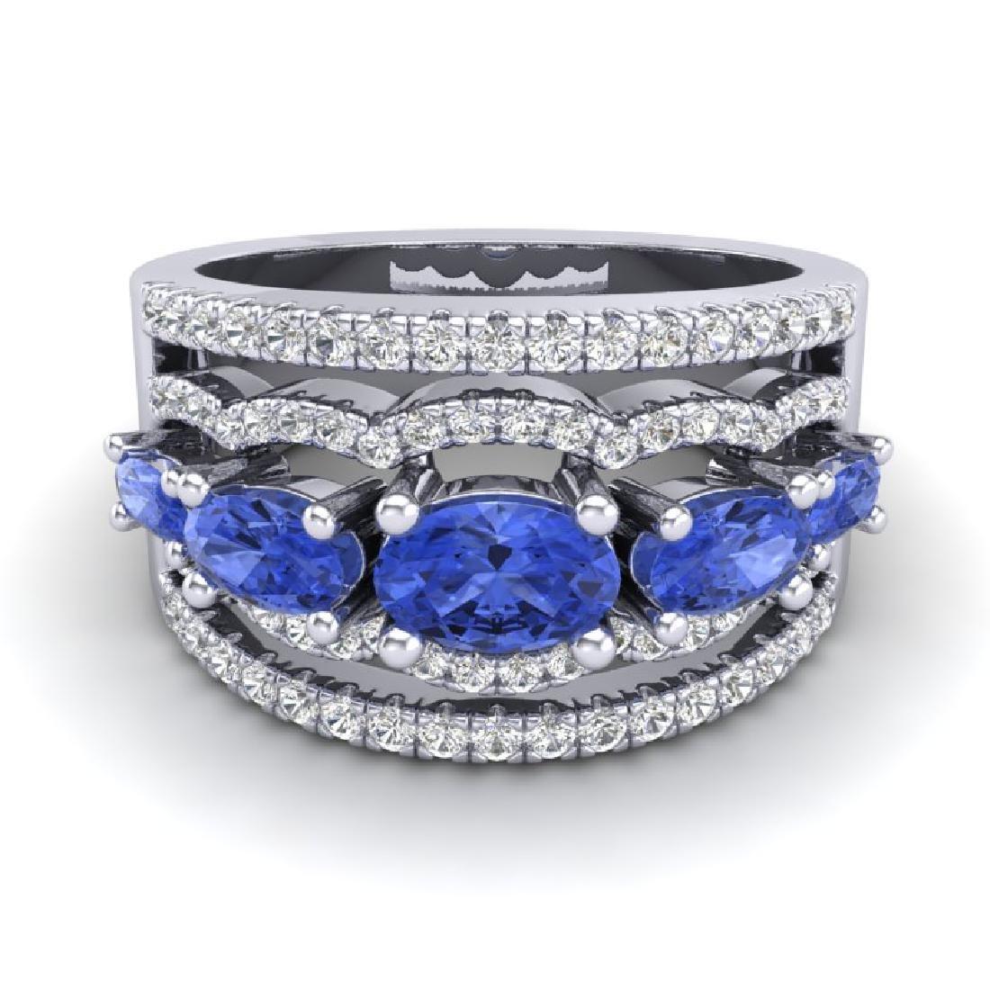 2.25 CTW Tanzanite & Micro Pave VS/SI Diamond Designer