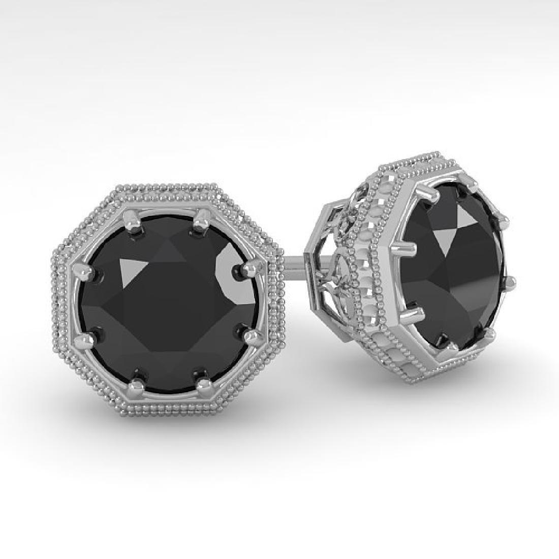 2.0 CTW Black Diamond Stud Solitaire Earrings 14K White