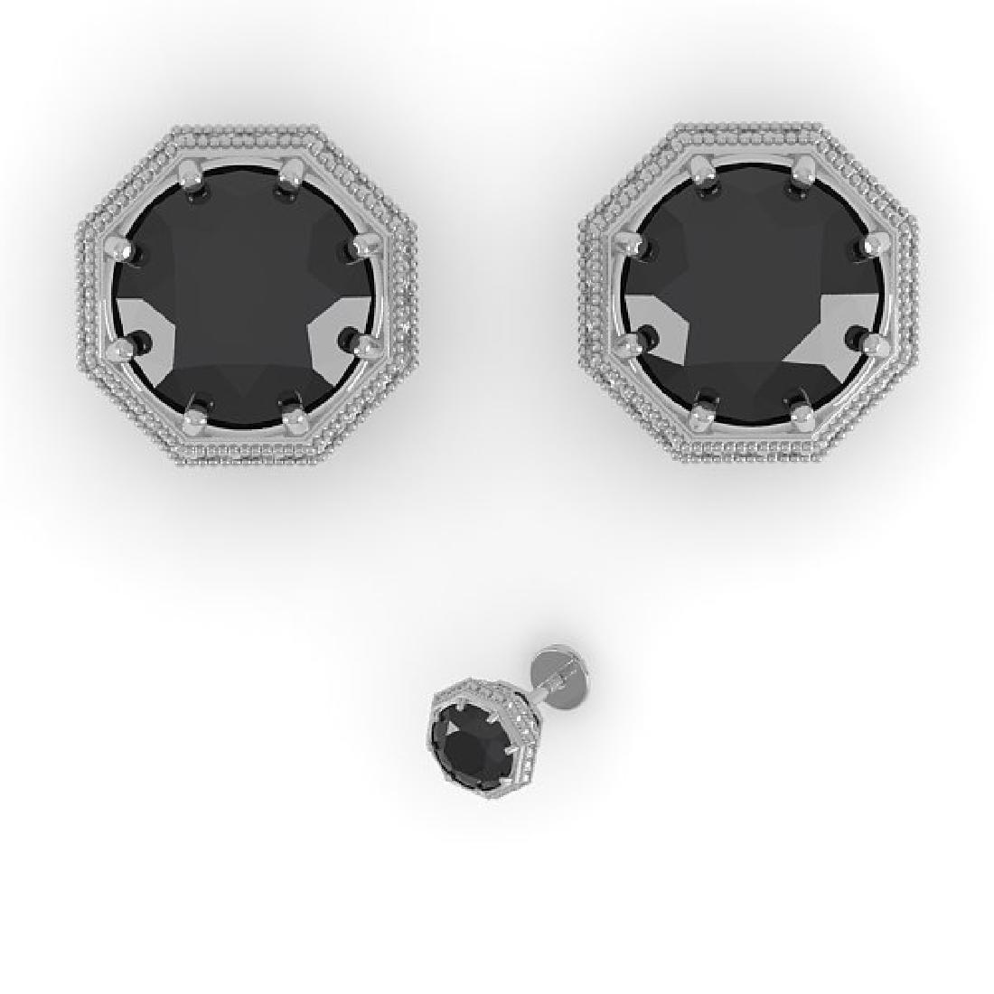 2.0 CTW Black Diamond Stud Solitaire Earrings 14K White - 2