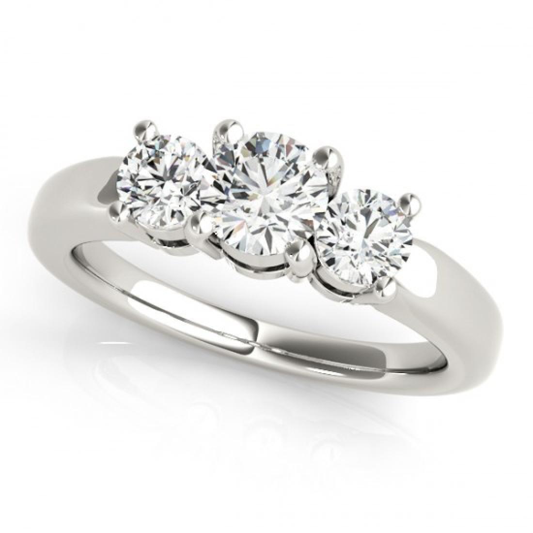 1.45 CTW Certified VS/SI Diamond 3 Stone Ring 14K White - 2