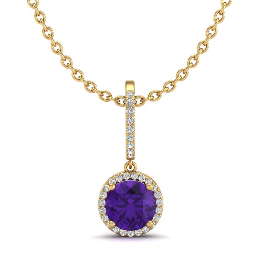 2 CTW Amethyst & Micro Pave VS/SI Diamond Necklace - 2
